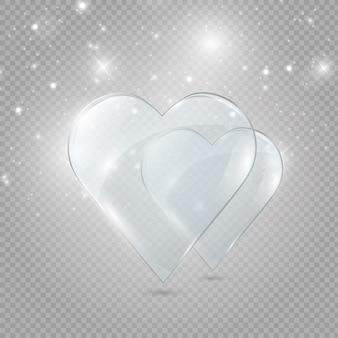 Стеклянное и неоновое сердце на прозрачной предпосылке, иллюстрация.