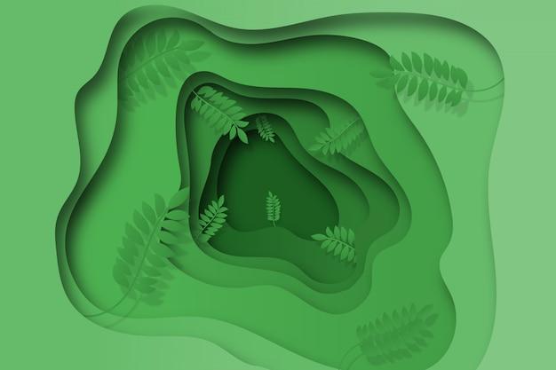 Абстрактный фон в стиле бумаги с зелеными листьями