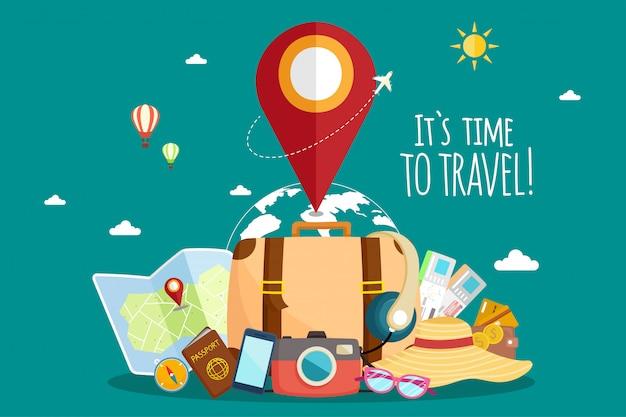 飛行機で旅行します。世界旅行。夏休みを計画しています。観光と休暇のテーマ。
