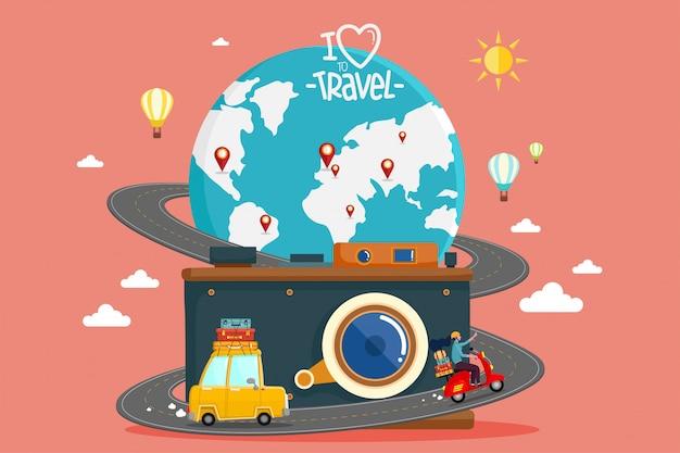 Путешествие на машине. кругосветное путешествие. планирование летних каникул. туризм и отдых тема.