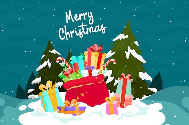 Поздравительная открытка с подарками или подарком