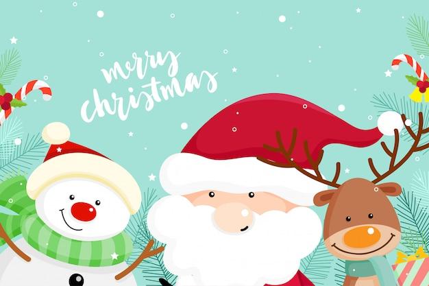 Рождественская открытка с рождеством санта-клауса, снеговика и оленей. векторная иллюстрация