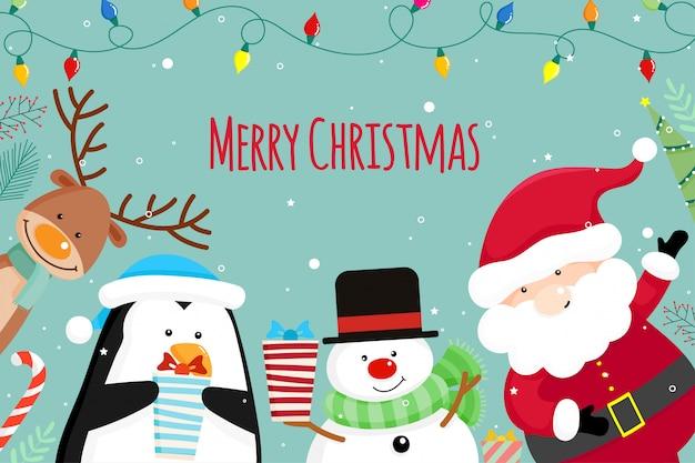 クリスマスサンタクロース、雪だるま、トナカイとクリスマスのグリーティングカード。ベクトル図