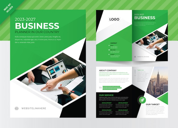 ビジネス二つ折りパンフレットのテンプレートデザイン