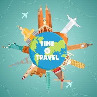 Путешествие на самолете. кругосветное путешествие. планирование летних каникул. туризм и отдых тема.