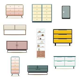 フラットデザインのキャビネット家具の装飾セット