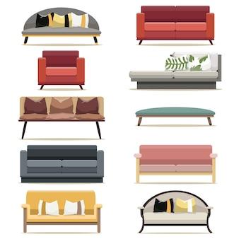 リビングルームのモダンなデザインのソファ家具