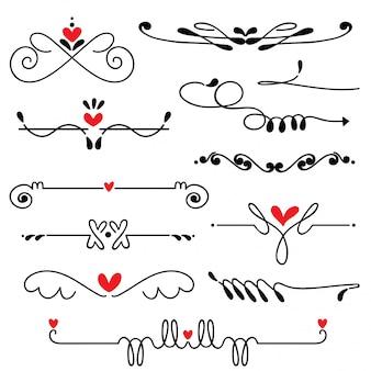 手描きのスケッチラインボーダーウェディングアートのベクトル図
