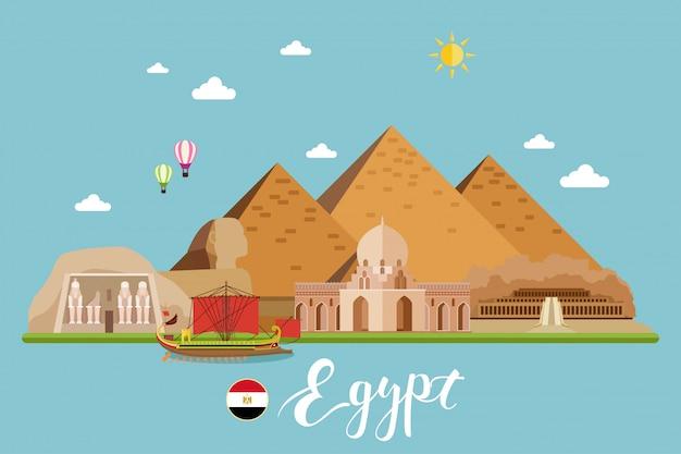 Египет путешествия пейзаж векторные иллюстрации