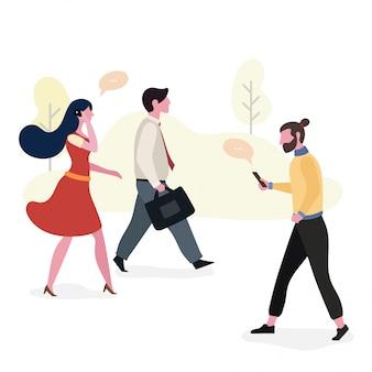 ワークスペース、イラストデザインを歩く働く人々