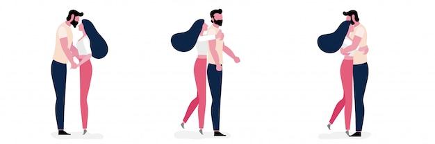 Набор молодой пары образ жизни в любви вместе