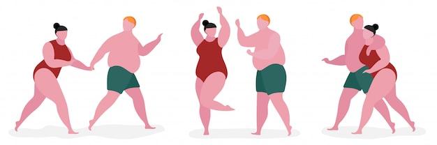 Пара толстый характер иллюстрации