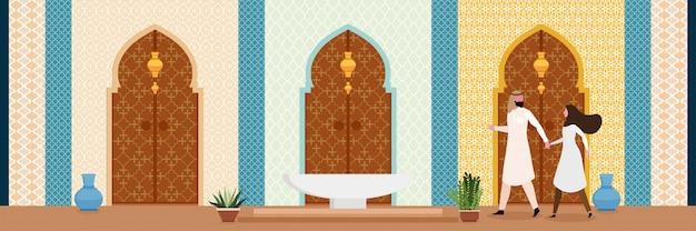 オリエンタルスタイルのトルコアラビアまたはインドのリビングルームのインテリアデザイン
