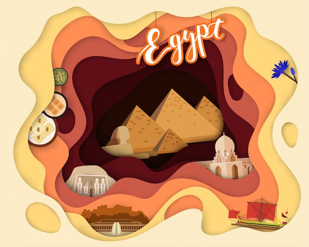 観光旅行エジプトの紙カットデザイン
