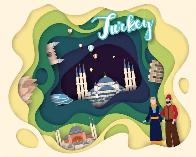観光旅行の紙カットデザイン