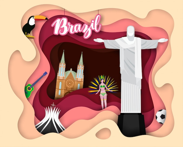 ブラジルの観光旅行の紙カットデザイン