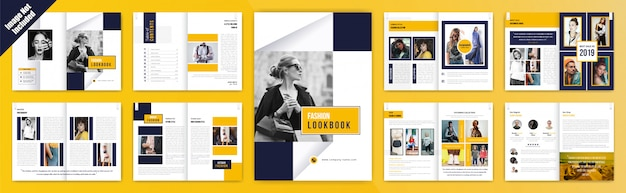 肖像画とファッションルックブックパンフレット