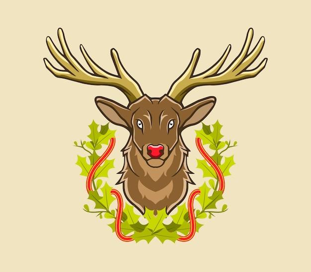 鹿とクリスマスの花輪