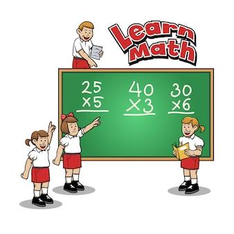 Учащиеся начальной школы, изучающие математику в классе.