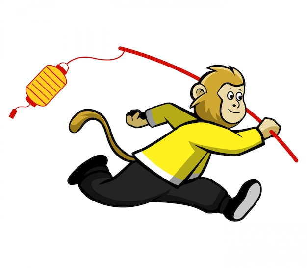 Обезьянка бежит и приносит традиционный фонарь.
