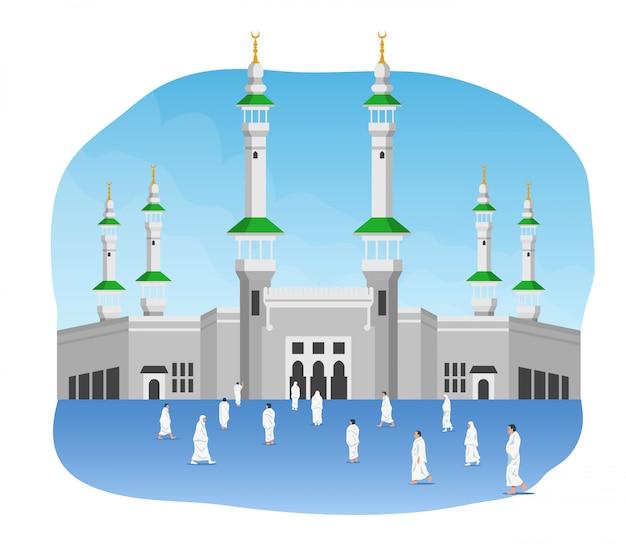 マスジディル・アル・ハラムの前の巡礼