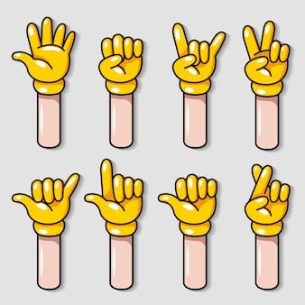 Желтая перчатка мультфильм жест рукой векторные иллюстрации набор.