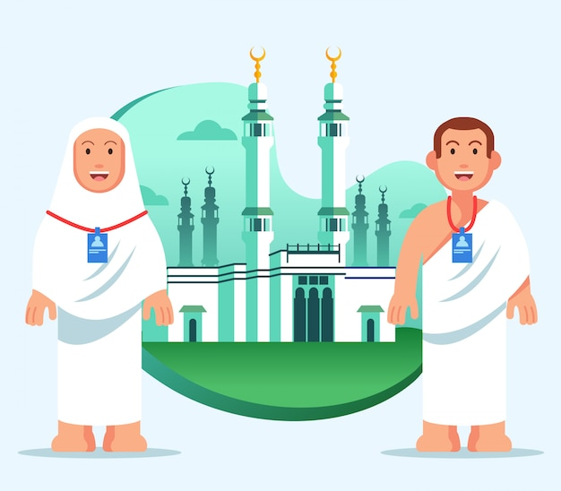 Плоская иллюстрация хаджа паломника в большой мечети мекки