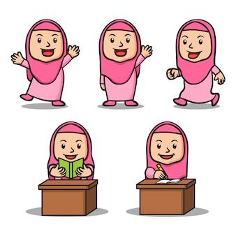 女の子イスラム学校の子供たちのキャラクターセットのさまざまな活動