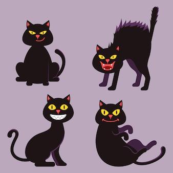 Черная кошка хэллоуин мультфильма набор символов