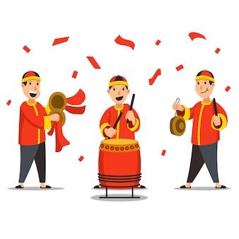 中国の伝統的なミュージシャンのキャラクターのイラスト
