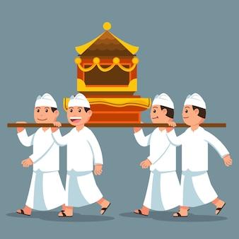 バリ島男性のパレードは肩に聖なるものを運ぶ