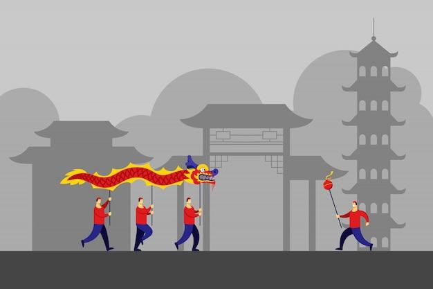 Китайский строительный пейзаж и традиционный танец дракона