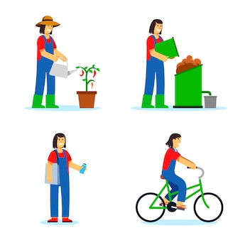 女性は緑のライフスタイルの図を適用します。