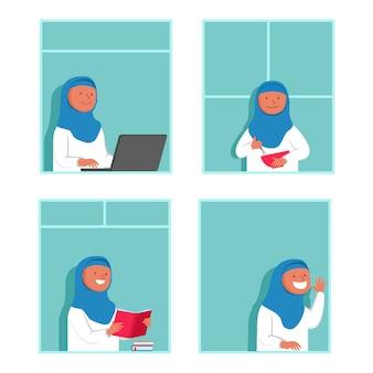 Женщина мусульманская деятельность дома, глядя из окна