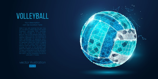 Абстрактный силуэт волейбольного мяча от частиц, линий и треугольников на синем фоне. неоновые огни. элементы на отдельных слоях цвета могут быть изменены в один клик.
