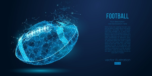 粒子、線、三角形から抽象的なアメリカンフットボールのボール。サイバーテクノロジーラグビー。