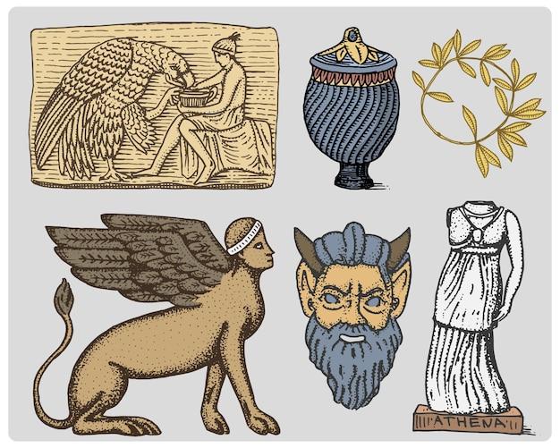 Древняя греция, старинные символы ганимед и орлиная анфора, ваза, статуя афины и винтажная маска сатира, гравированная рука, нарисованная в стиле эскиза или дерева, старый выглядящий изолированный ретро, изолированный.