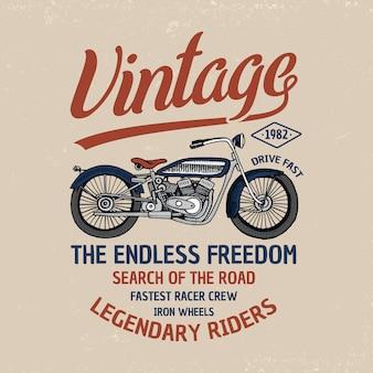 Иллюстрация мотоцикла или мотоцикла. логотип эмблема или метка, гравировка рисованной в старом эскизе и старинный транспорт.