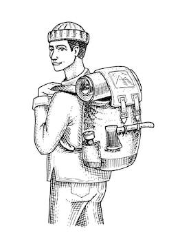 バックパックと荷物を持った旅人。キャンプ旅行、アウトドアアドベンチャー、ハイキング。