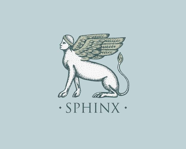 スフィンクスのロゴ古代ギリシャ、アンティークシンボルヴィンテージ、スケッチで描かれた刻まれた手または木のカットスタイル、古いレトロ探し
