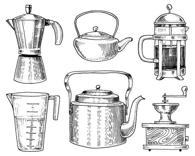 Кофеварка или кофемолка, французский пресс, измерительная емкость, китайский чайник или чайник.