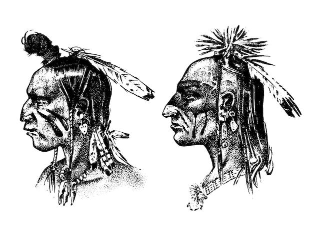 頭飾りと羽を持つネイティブアメリカンインディアンの男。スーの北または西のヘッドマスコット。