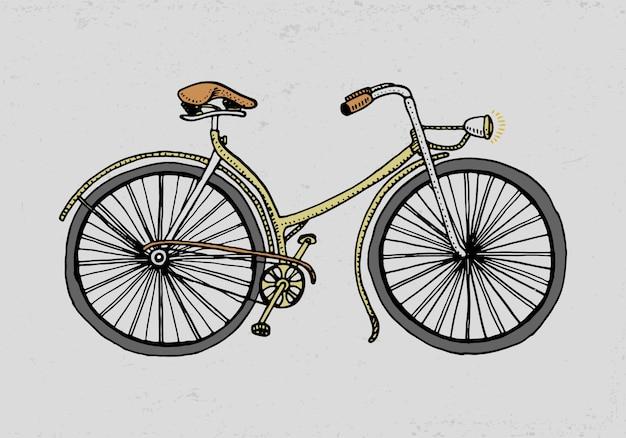 自転車、自転車、ベロシペド。旅行イラスト。古いスケッチスタイル、ヴィンテージの輸送で描かれた刻まれた手。