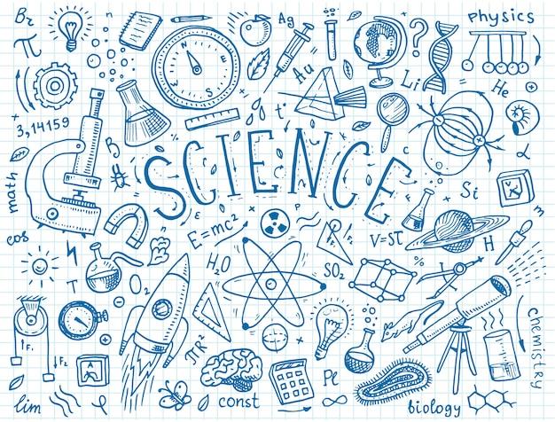 古いスケッチとビンテージスタイルで描かれた刻まれた手。科学の公式と物理学と数学、化学と生物学の計算またはホワイトボードの天文学。教育と科学。