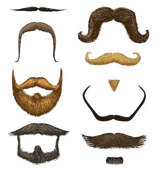 男性、ヒップスター、レトロな理髪店や透明な背景に美容院の口ひげと面白いひげのセット。古いスケッチ、包装および看板のビンテージスタイルで描かれた刻まれた手。