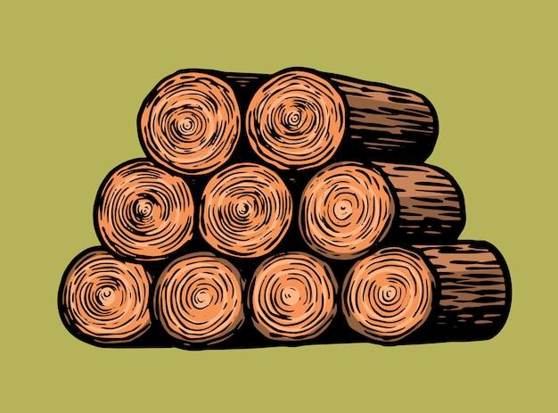 木の切り傷や薪の山。手描きヴィンテージレトロなスケッチ
