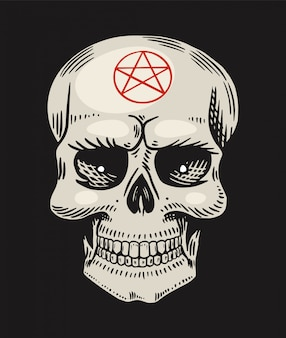 悪魔のようなシンボルを持つ人間の頭蓋骨。魔法の神秘的な呪文の要素。手描き刻まれた落書きのスケッチ。