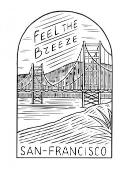 レトロな夏のサンフランシスコ。サーフバッジ、ヴィンテージサーファーのロゴ。刻まれたエンブレム手描き。