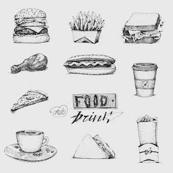 ファーストフードのイラストを入り。スケッチ、レストラン、メニュー。ハンバーガー、ホットドッグ、サンドイッチ、ピザ、フライドポテト、アイスクリーム、タコス、ロール、ハンバーガー、ソース
