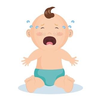 青いおむつで泣いている赤ん坊の男の子